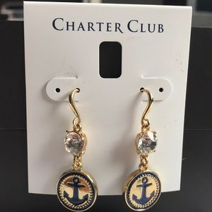 Charter club gold dropped earrings
